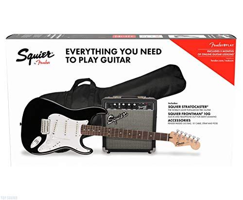 Fender Squier Stratocaster LRL Black + Frontman 10G + Funda + Accesorios